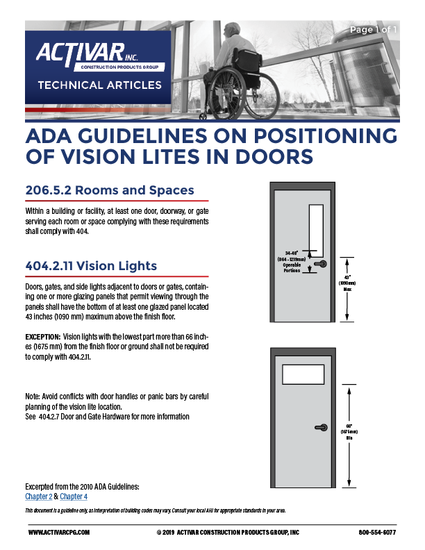 ADA Guidelines on Positioning of Vision Lites in Doors PDF Thumbnail