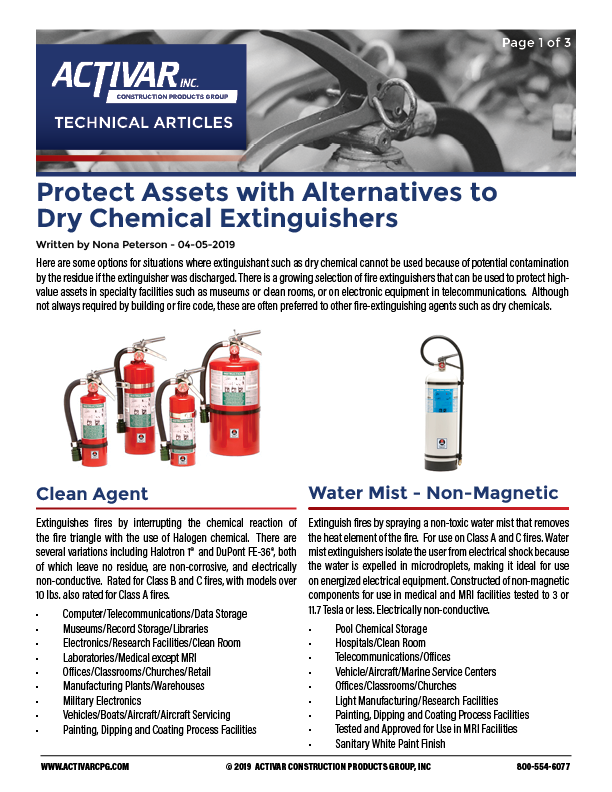 Protect Assets with Alternatives to Dry Chemical Extinguishers PDF Thumbnail