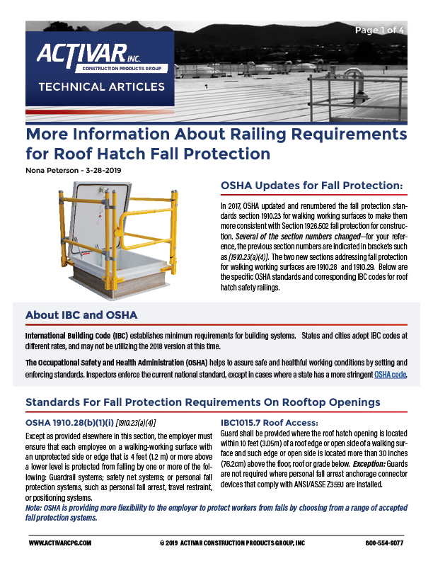 Information About Railing Requirements for Roof Hatch Fall Protection PDF Thumbnail