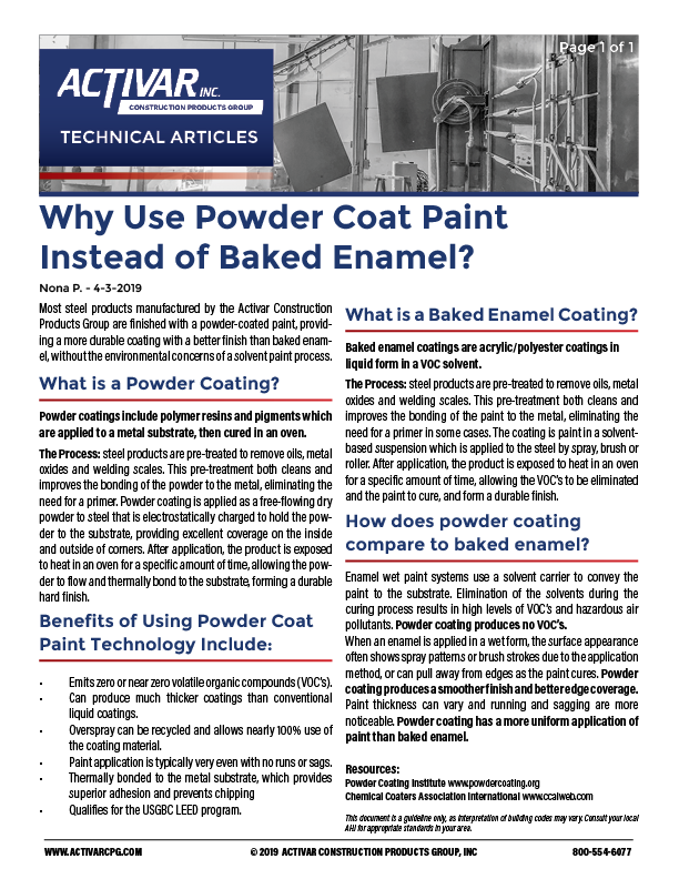 Why Use Powder Coat Paint Instead of Baked Enamel? PDF Thumbnail